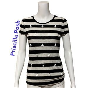 Ann Taylor Black and White Striped 100% Linen Tee